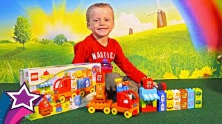 Max Unboxes Plays with New Lego Play Set Toys For Kids with Toy Truck Car Learn Food For Children