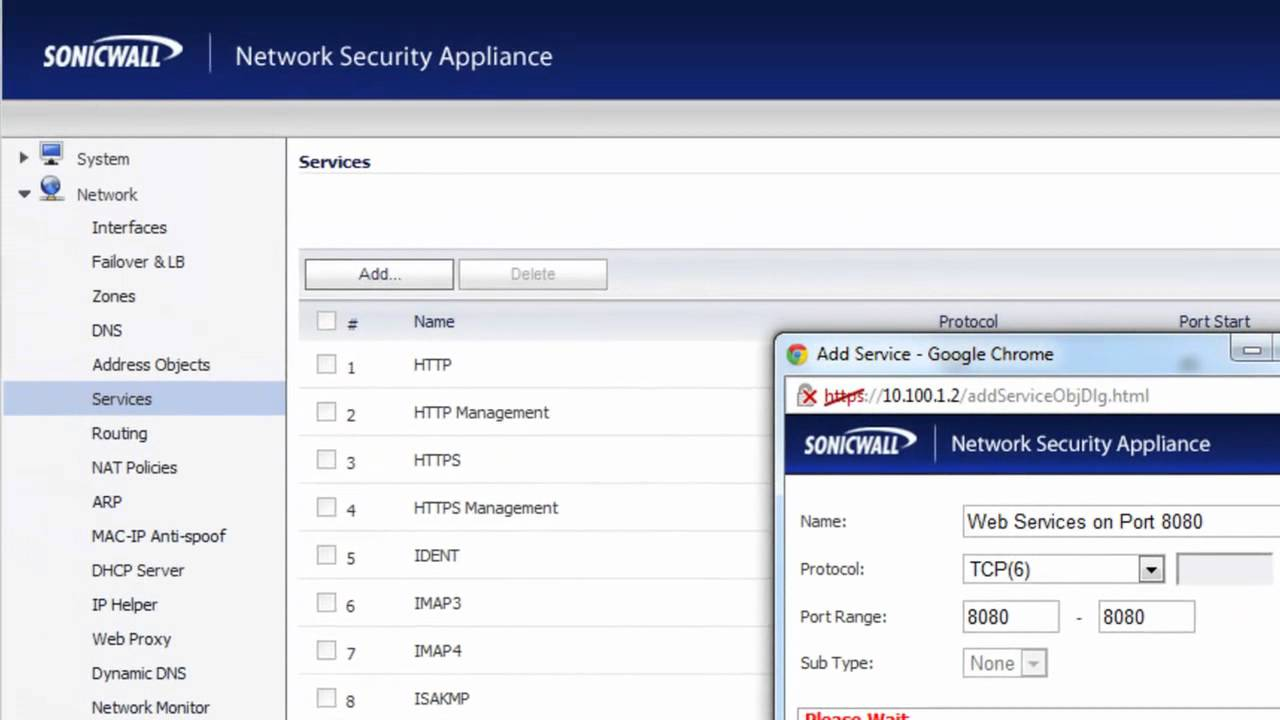 Creating Custom Services on a SonicWALL Firewall