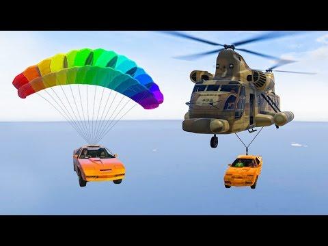 CARGOBOB + PARACHUTE CAR = EPICNESS! (GTA 5 Funny Moments)