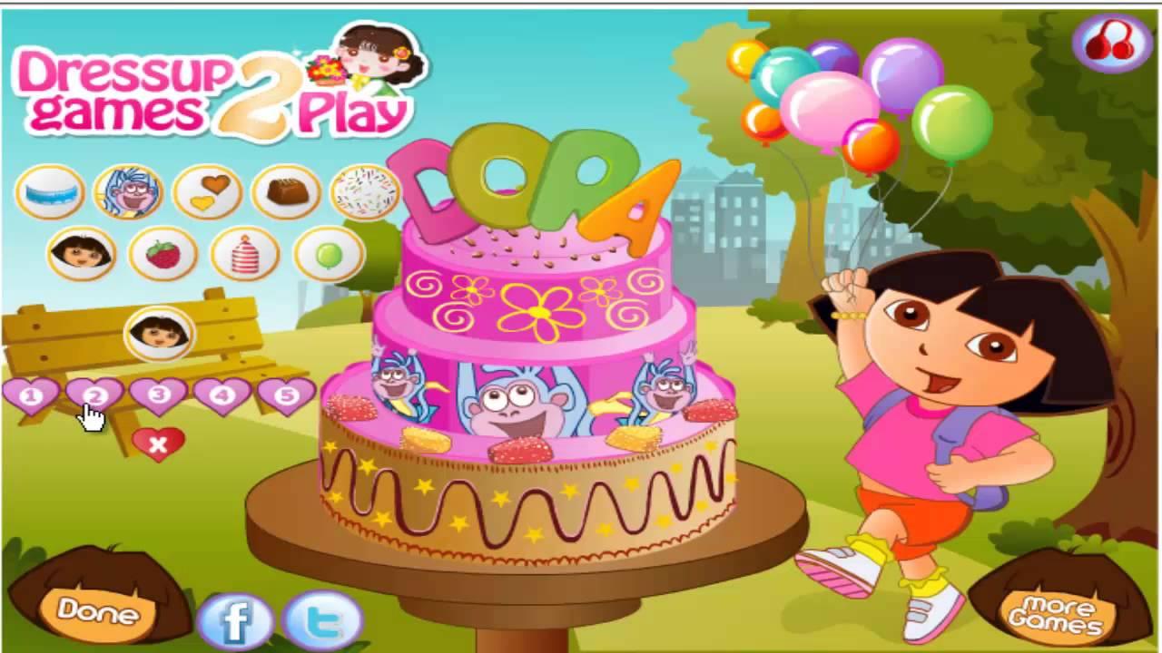Dora The Explorer Birthday Cake Decor Game Adventure Hd Hola Youtube