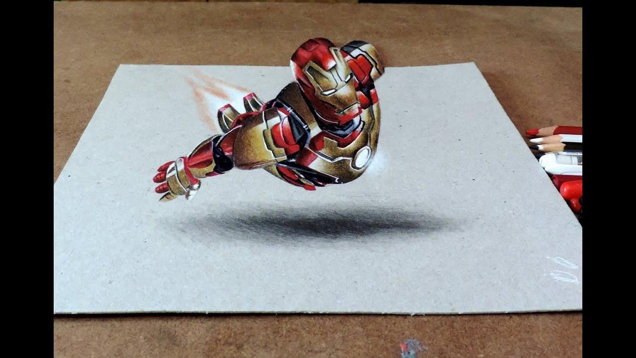 drawing iron man 3d desenhando homem de ferro com efeito3d youtube