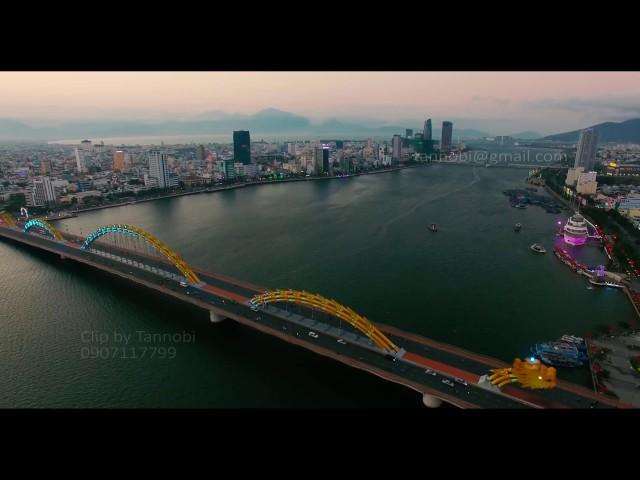 Cầu Rồng Đà Nẳng nhìn từ máy bay HD 4K