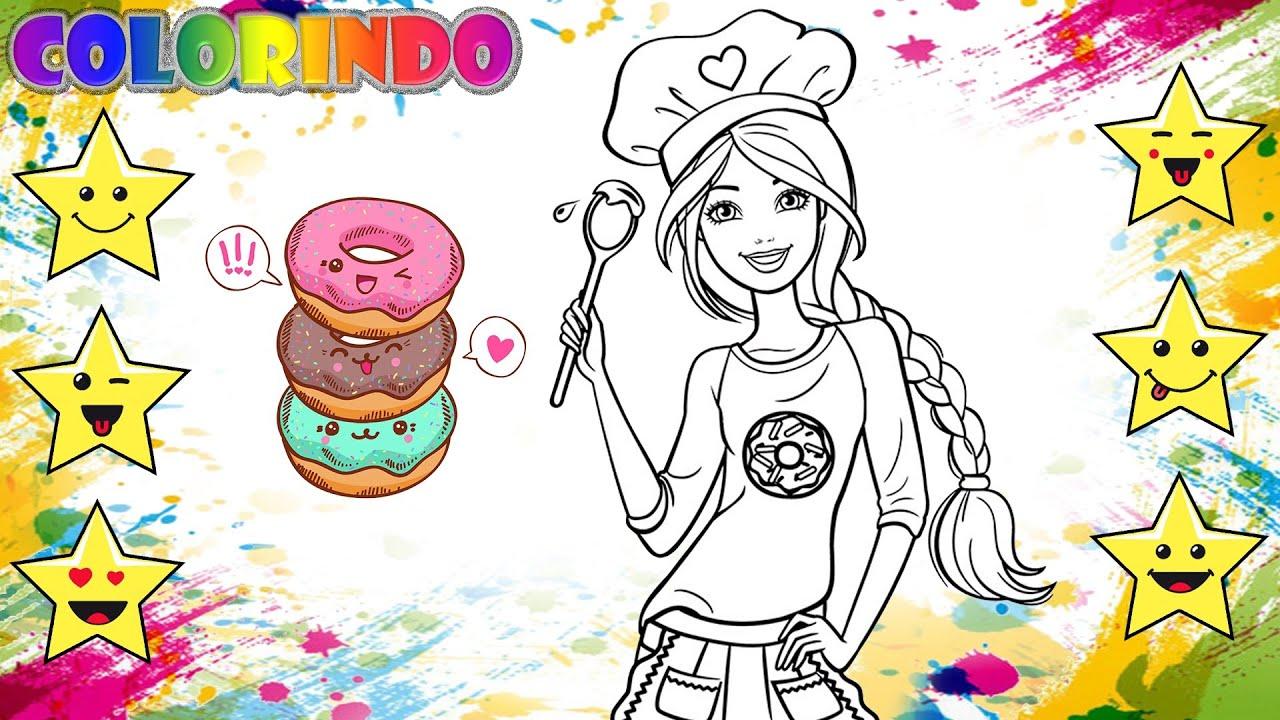 Colorir A Barbie Cozinheira Desenho Educativo Brincar E