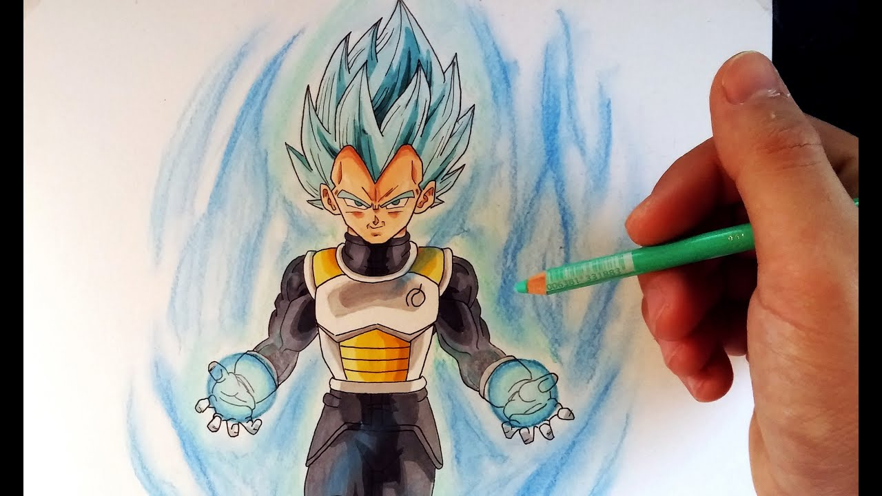 Cmo Dibujar a Vegeta en modo Dios SSJ pelo azul  How to draw