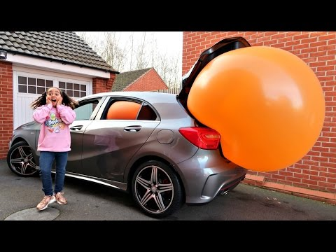 Thumbnail: Giant Balloon Stuck In Our Car - Surprise Toys For Kids - Disney Toys Shopkins Num Noms