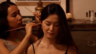 [ASMR] Real Person Scalp Check with Sticks, Gua Sha Chinese Acupoint Shoulder, Neck & Scalp Massage
