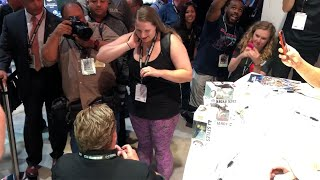 WWE fan proposes during Elite Squad signing at San Diego Comic-Con 2018