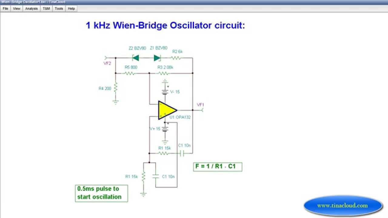 1 kHz Wien Bridge Oscillator - YouTube Wien Bridge Oscillator Schematic Diagrams on spectrum analyzer schematic, signal generator schematic, electronic mixer schematic, tone control circuit schematic, ammeter schematic, voltmeter schematic, voltage divider schematic, led circuit schematic, breadboard schematic, frequency counter schematic, transistor tester schematic, function generator schematic, current source schematic, gyrator schematic, marx generator schematic, lead-lag schematic, multimeter schematic, esr meter schematic,