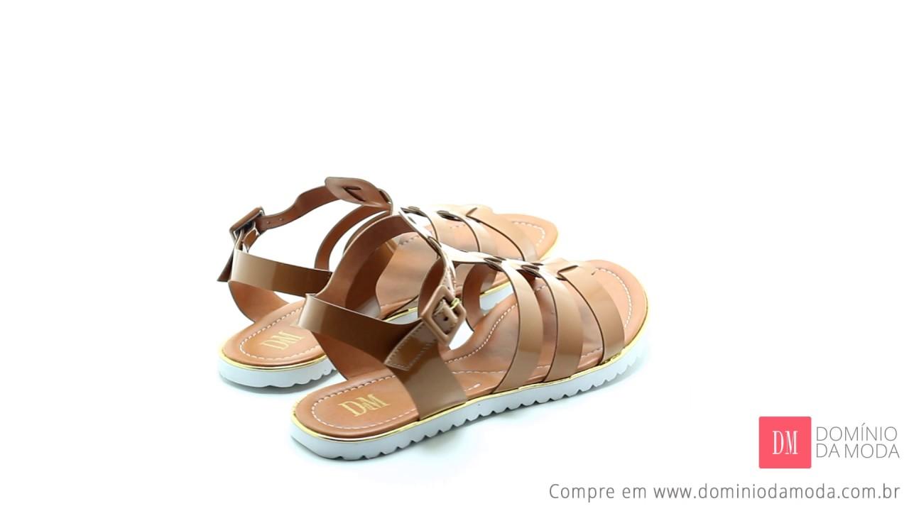 edd5ff5bb Sandália Rasteira DM Extra Verniz Marrom Caramelo DME1812202 Numeração  Especial. Domínio da Moda: Sapatos Femininos Grandes
