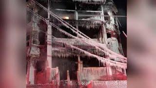 Boston firefighters battle blaze in -18 degrees