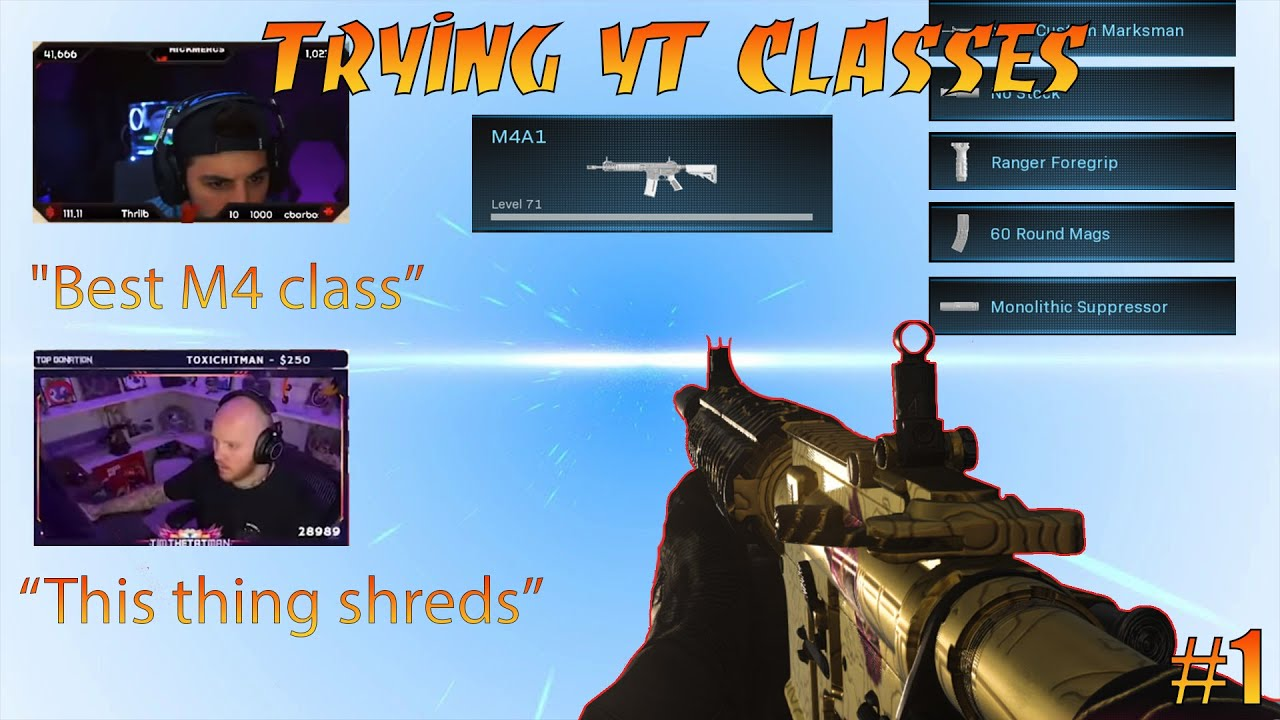 NickMercs M4 Class *GODLIKE* Trying YT Classes in Warzone