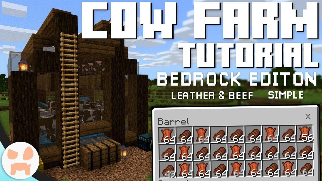 Cow Farm Tutorial Bedrock Edition 1 12 Leather Beef Semi Auto Youtube