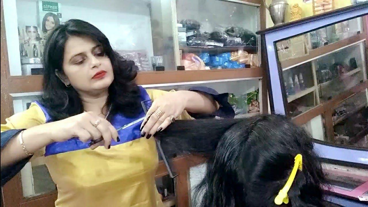 three step cutting, long to short hair cut 💇💇seema jaitly
