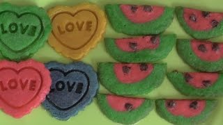 Easy Bake Oven Watermelon and Heart Cookies