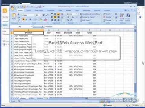 Using the Excel Web Access Web Part in SharePoint 2010