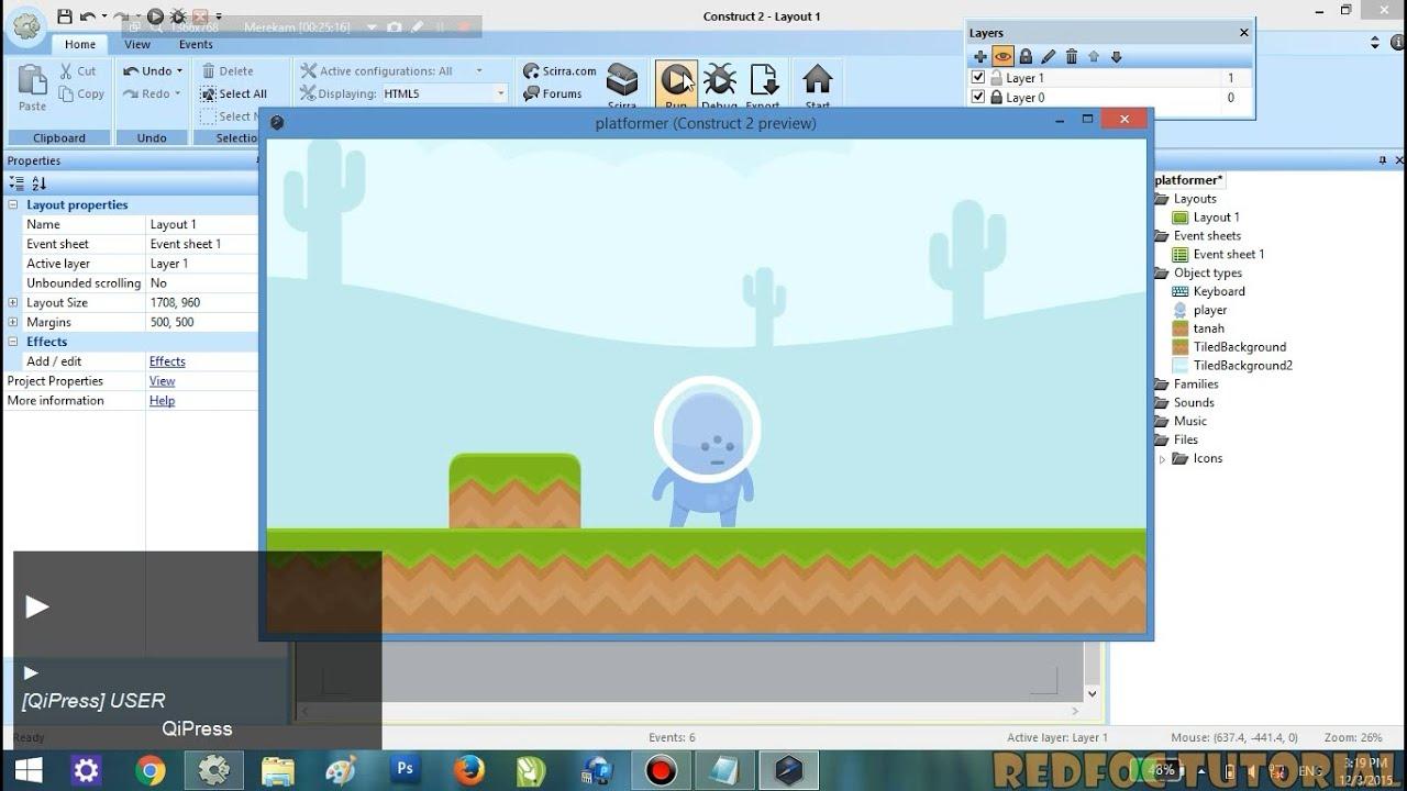 tutorial construct 2 membuat game platformer part 1