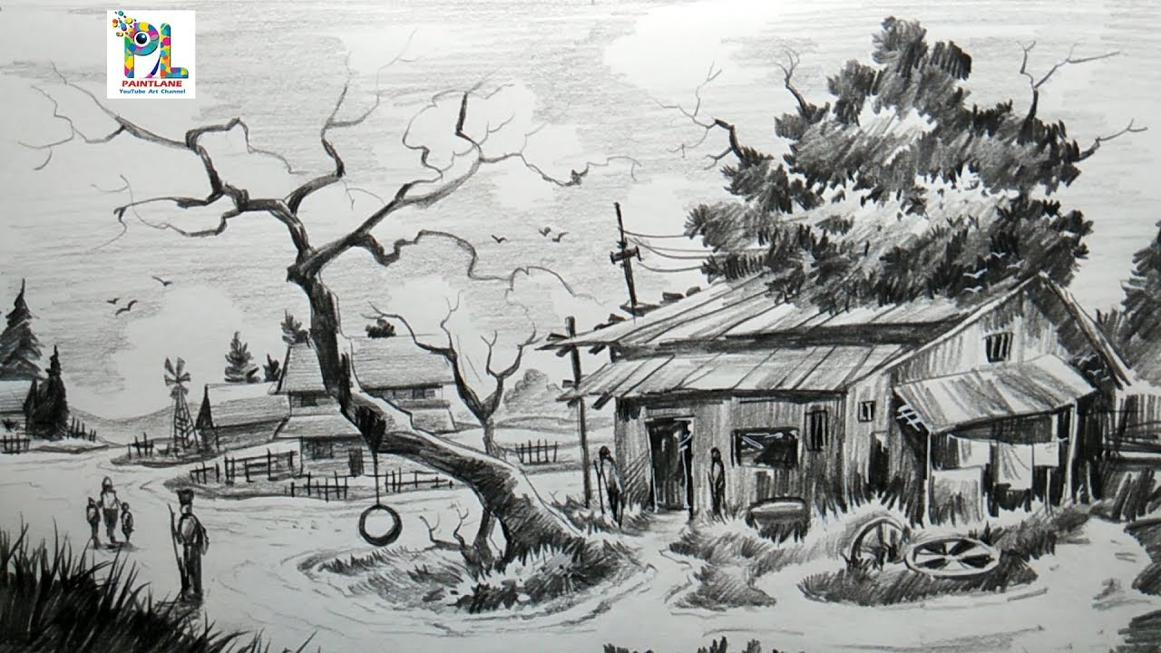Easy Pencil Sketches Of Village Pencil Sketch