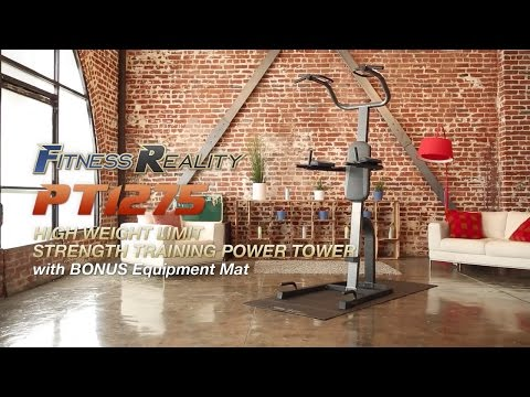 2800 Fitness Reality PT1275 High Height Limit Strength Training Power Tower With Bonus Equipment Mat