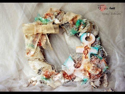 Maritime wreath - mixed media by Karolina Bukowska- 13 arts