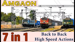 7 in 1 Back to Back High Speed Actions of Trains at Amgaon Railway Station