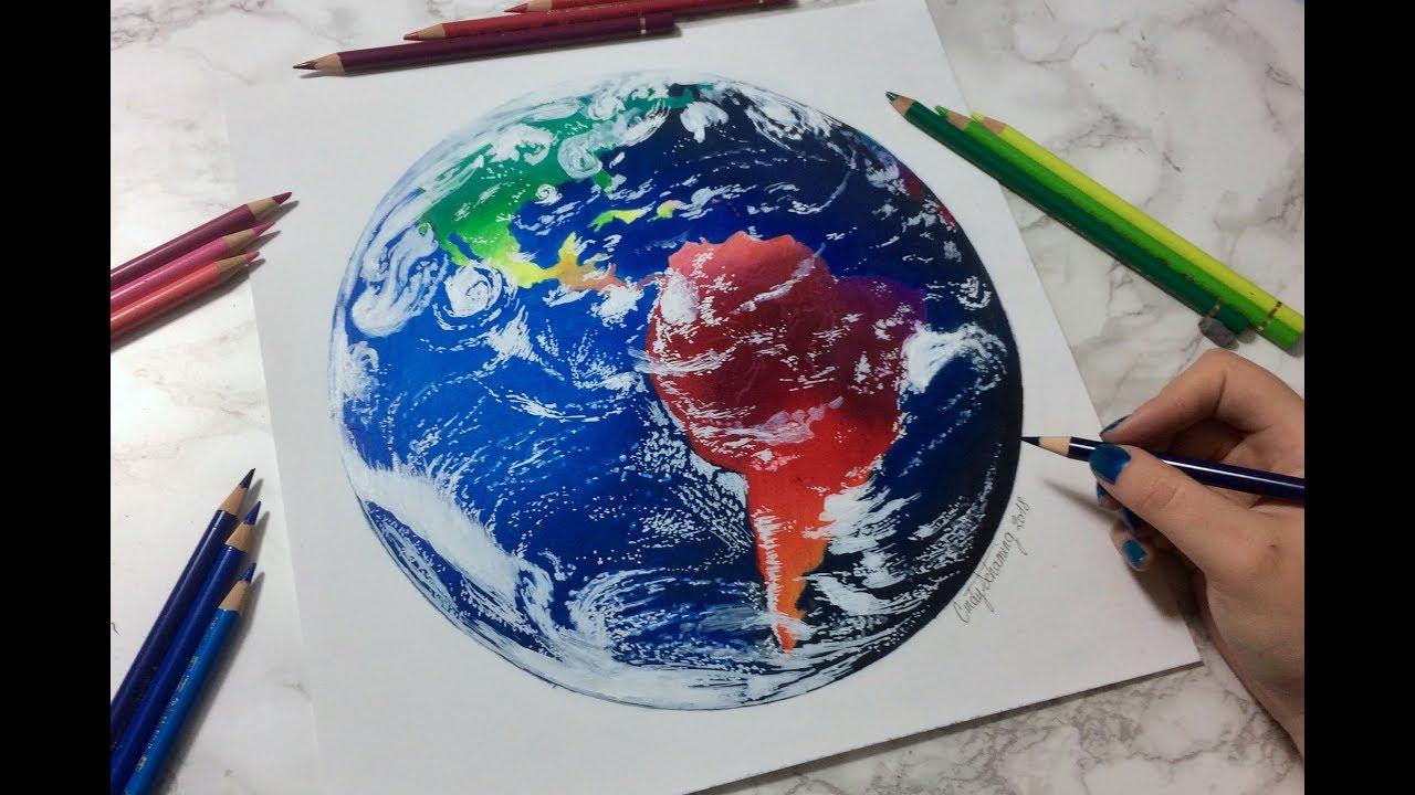 drawing colorful earth dessin de la plan te terre youtube. Black Bedroom Furniture Sets. Home Design Ideas
