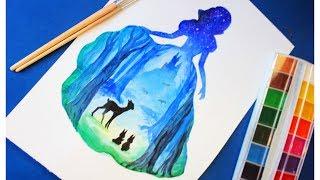 Как нарисовать силуэтный рисунок (БЕЛОСНЕЖКА И СЕМЬ ГНОМОВ) Уроки рисования.