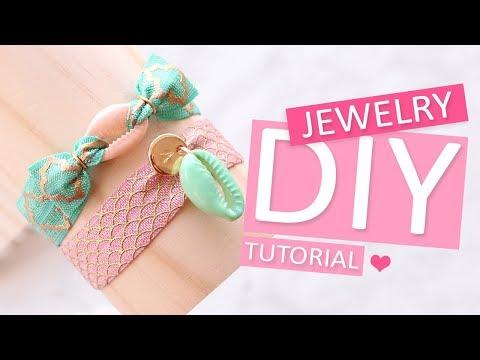 DIY Tutorial - Fröhliche Armbänder mit Elastisches Band und Kauri muscheln – Selbst Schmuck machen