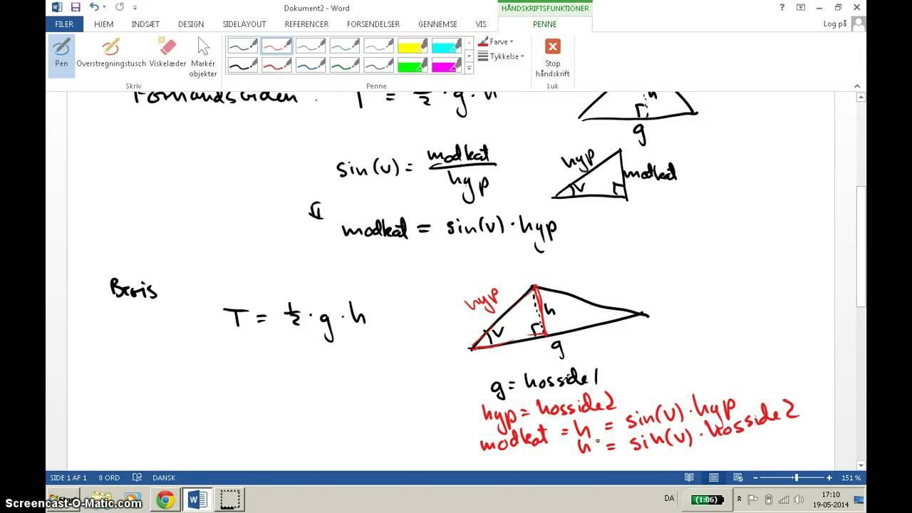 For 1u MaB - bevis for arealformlen og sinusrelationen