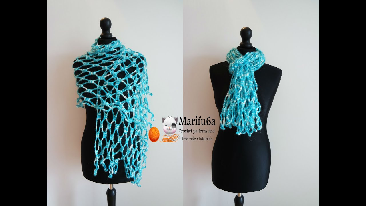 How to crochet easy scarf shawl for beginners from one ball free how to crochet easy scarf shawl for beginners from one ball free pattern tutorial youtube bankloansurffo Images
