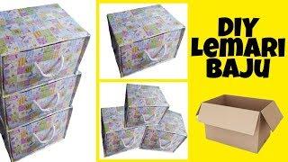 DIY    Cara Membuat Lemari Baju Dari Kardus   How to make Storage Wardrobe from waste box