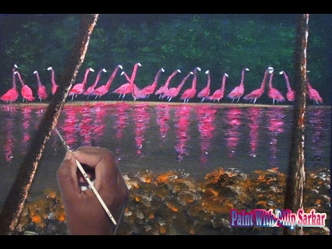 drawing pink flamingos birds , landscape – acrylic paintings