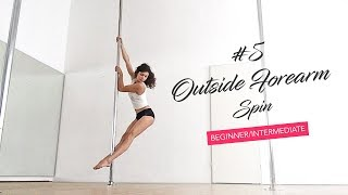 The Push and Pull technique in pole dance / Outside Forearm Spin tutorial