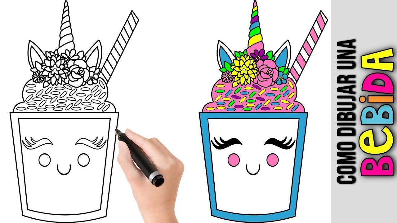 Como Dibujar Una Bedida Unicornio Kawaii Dibujos De Unicornios
