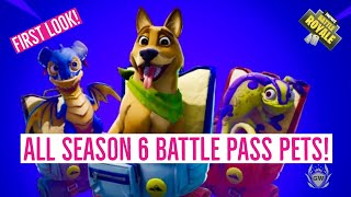 ALL PETS in Fortnite Season 6 battle pass! All season 6 battle pass pets! Fortnite Battle Royale!