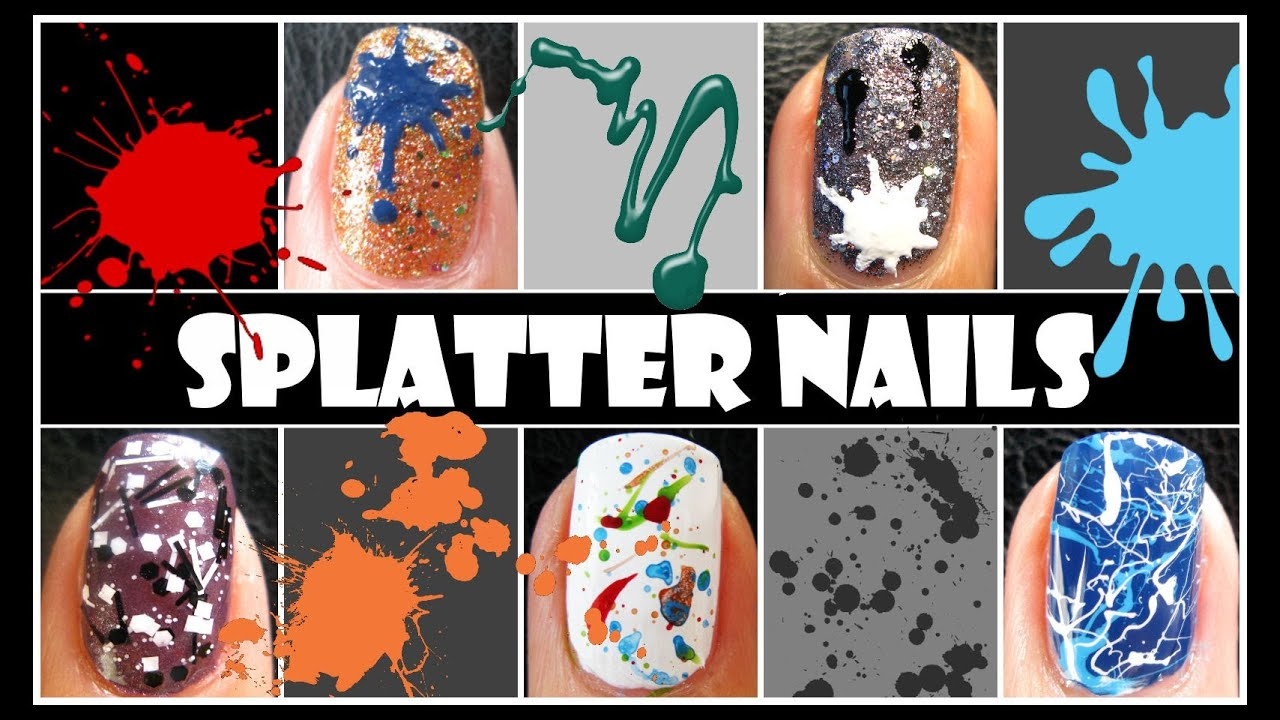Splatter nail tutorial easy beginner techniques to create nail splatter nail tutorial easy beginner techniques to create nail art designs straw acrylic paint youtube prinsesfo Image collections