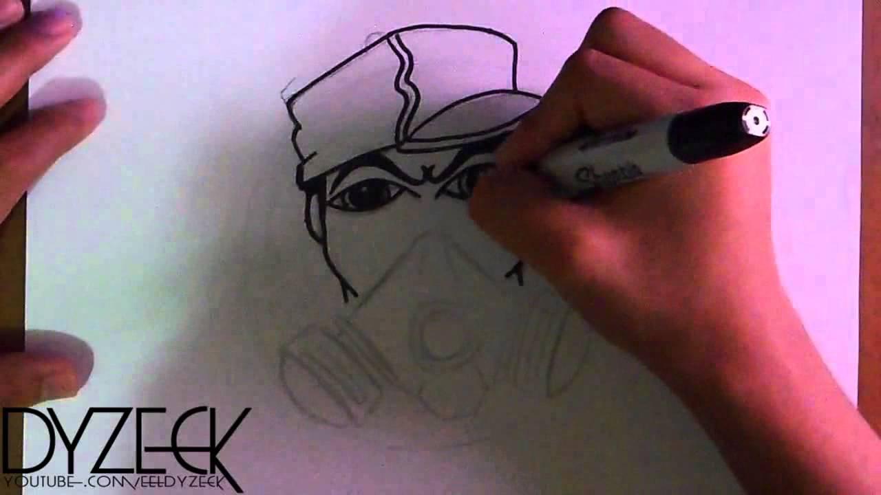 Dibujo de un caracter de mascara de gas con spraycans Tributo a