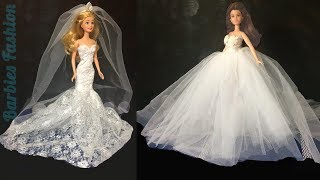 2 DIY BARBIE WEDDING DRESSES & MORE BARBIE CRAFTS AND HACKS