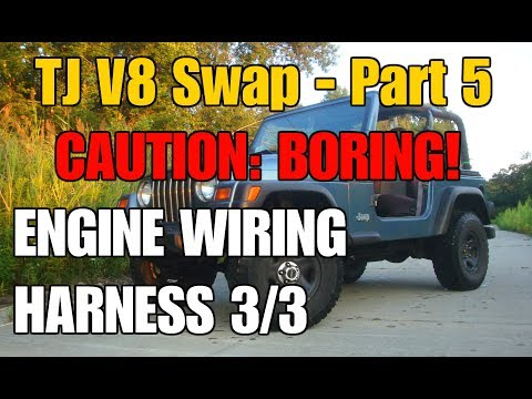 Engine Wiring Harness 3/3: Tips and Tricks | V8 TJ Part 5 ... on jeep exhaust gasket, jeep engine harness, jeep carrier bearing, jeep tach, jeep knock sensor, jeep relay wiring, jeep condensor, jeep wiring connectors, jeep seat belt harness, jeep bracket, jeep wire connectors, jeep vacuum advance, jeep intake gasket, jeep visor clip, jeep gas sending unit, jeep electrical harness, jeep exhaust leak, jeep key switch, jeep sport emblem, jeep wiring diagram,