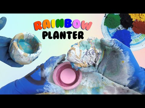 The Joy Of Concrete | Ep. 8 -- Freestyle Marbling with Mineral Pigments to make a Rainbow Planter