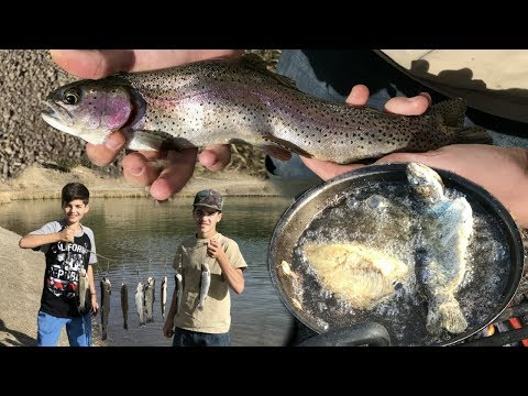 Trout Fishing Catch And Cook Recipe: How To Camp Fire Cook Rainbow Trout - Cave Lake, Nevada