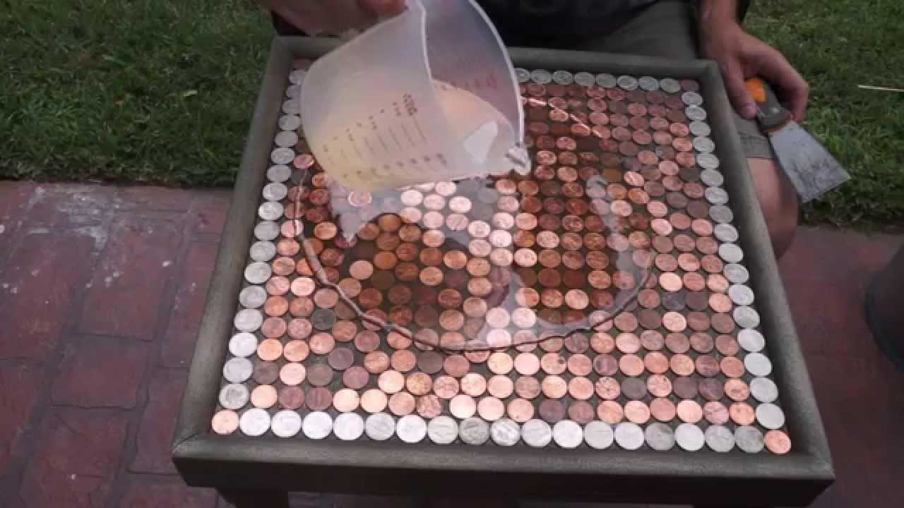 Etonnant DIY How To Make A Penny Top Table