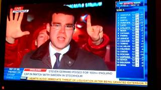 Funny Hearts fan in the background on Sky Sports News