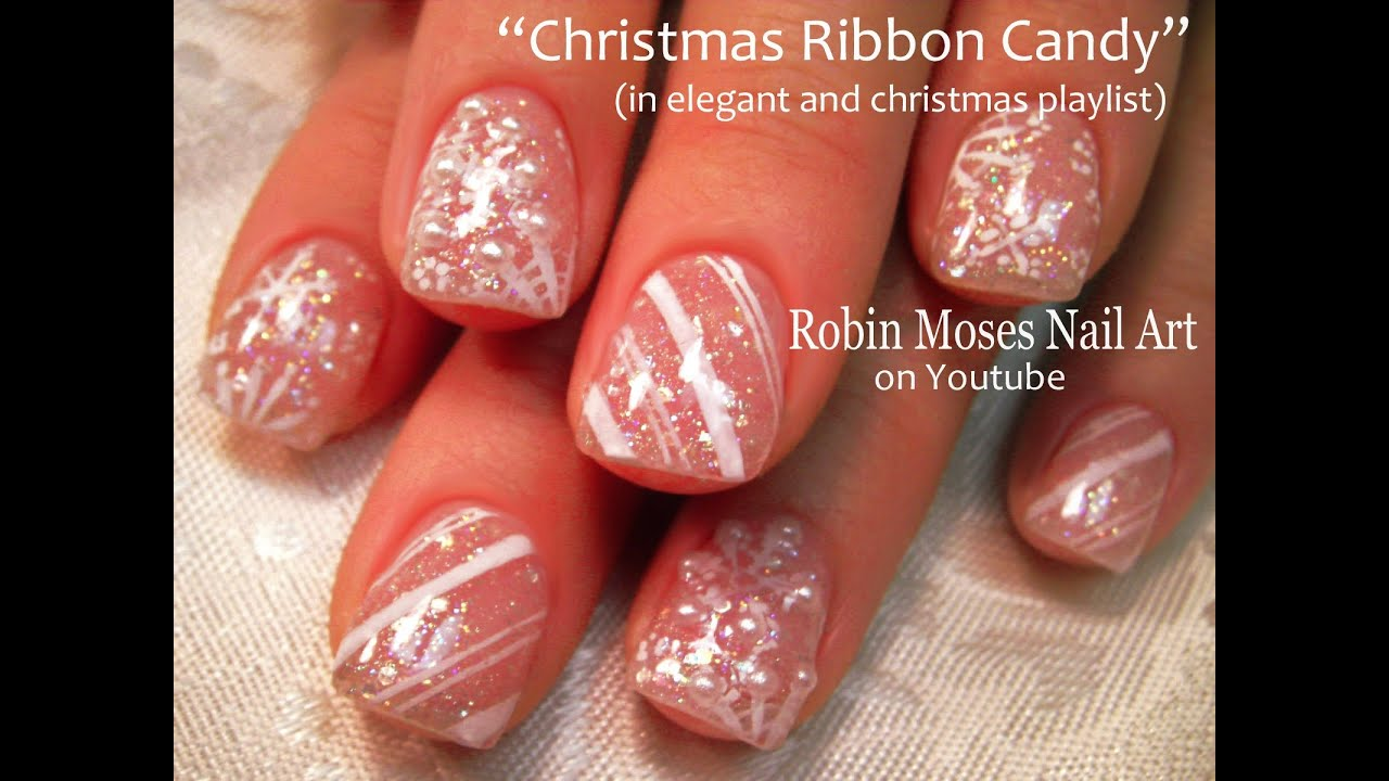 Diy Easy Snowflake Nails Glitter Candy Cane Stripe Pearl Nail