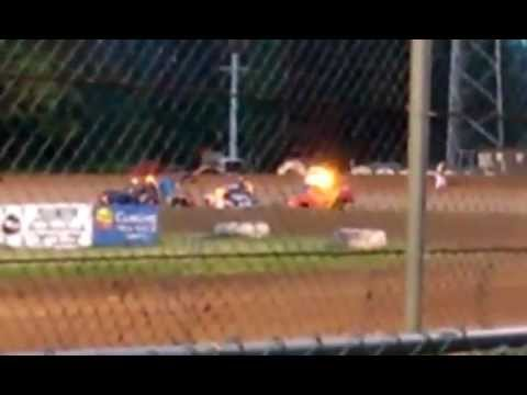 mike swaim hornet rollover cottage grove speedway 2014