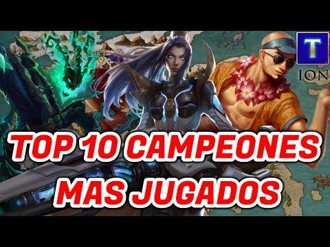 TOP 10 CAMPEONES MAS JUGADOS DE LEAGUE OF LEGENDS | TenYasha LOL thumbnail