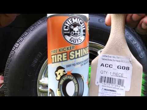 Chemical guys extra shiny tire kicker demo review with tire brush