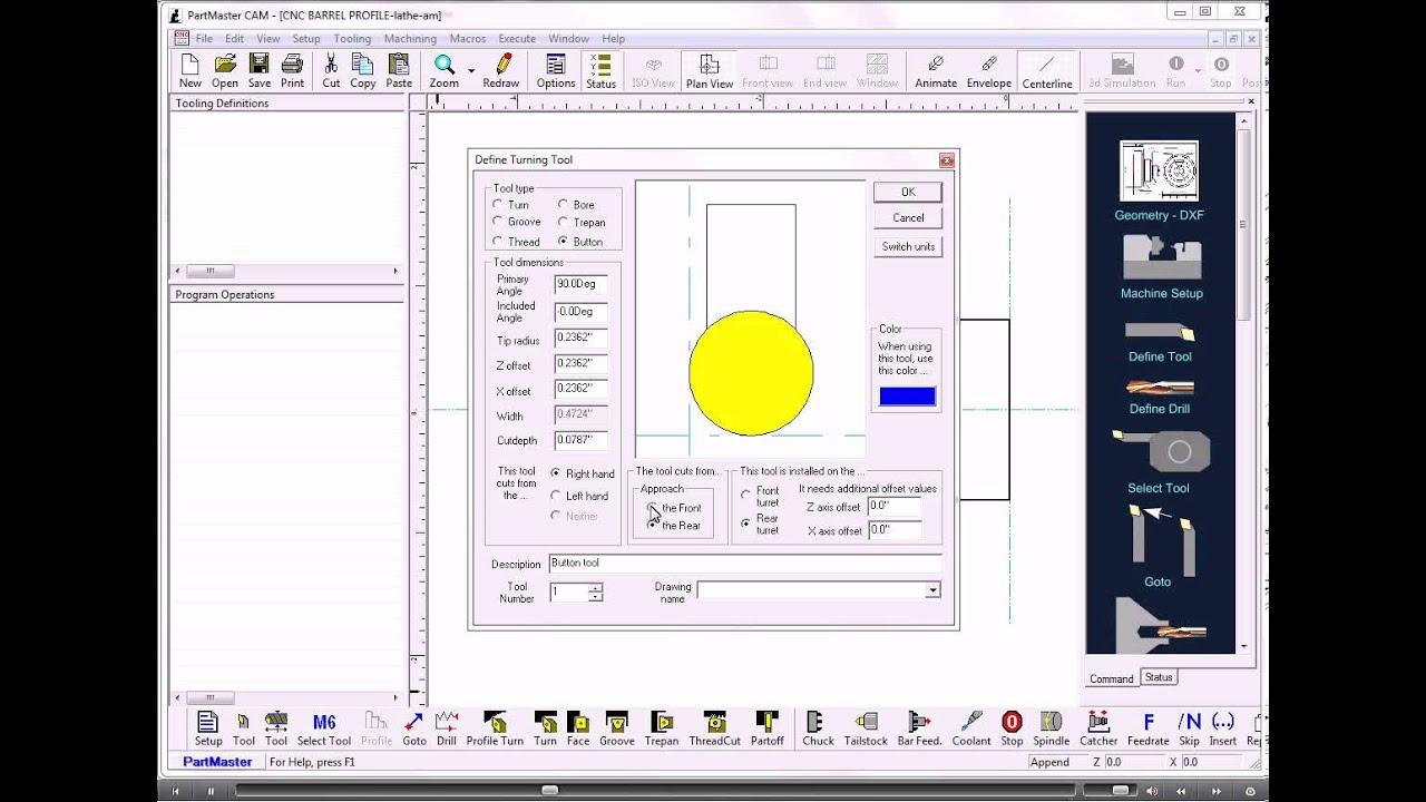 Dolphin PaertMaster CADCAM - DXF Import Barrel Profile ...