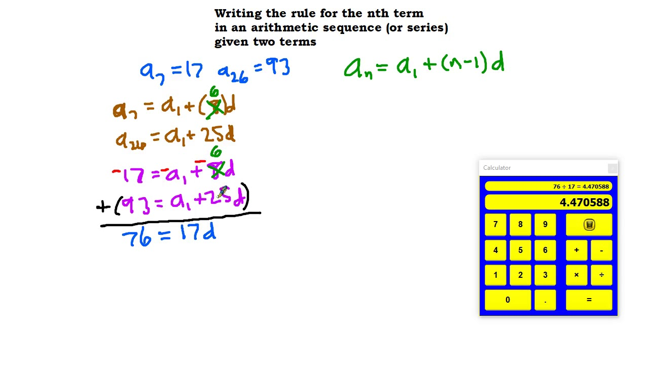 Write the rule for the nth term for an arithmetic sequence given two terms