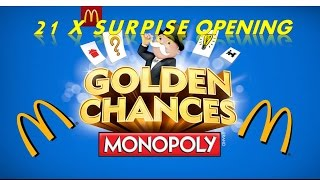 McDONALD'S MONOPOLY GOLDEN CHANCES 2015 21 x SURPRISE TICKET OPENING BLOW OUT