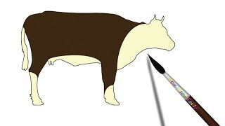 How to Draw a Cow | Cattle Step by Step Drawing - Coloring Page